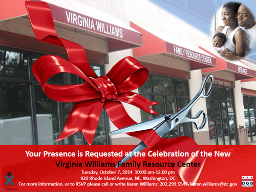 Virginia Williams Resource Center Ribbon Cutting Ceremony October 7, 2014 at 10 am (Download an accessible version, below)