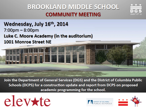 Brookland Middle School Community Meeting - Construction Update Flyer July 16, 2014 (Download accessible version, below)