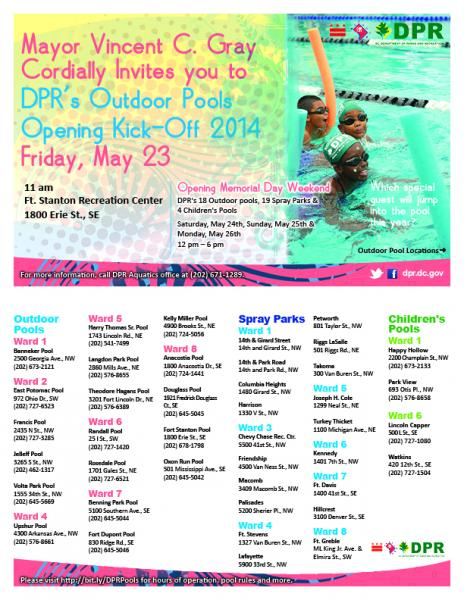 Mayor Vincent C. Gray Cordially Invites you to DPR's Outdoor Pools Opening Kick-off 2014