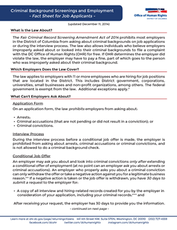 Job Applicant Fact Sheet